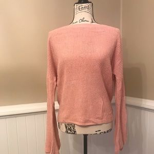 Express bell sleeve pink sweater cute